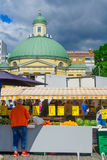 Scene of the market square, in Turku Stock Images