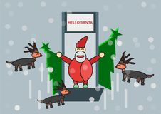 Scene for Merry Christmas on December. Scene for Merry Christmas with Santa claus, reindeers and tree Royalty Free Stock Image