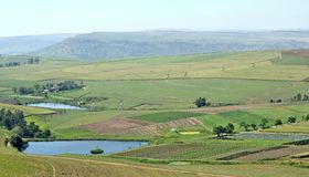 Scene from the Midlands. A look into a valley near Camperdown in the midlands of Natal SA royalty free stock image