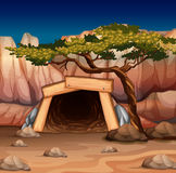 Scene with mine entrance and tree. Illustration Royalty Free Stock Photo