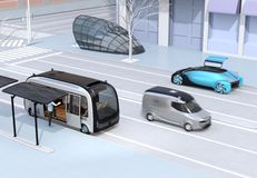 Scene of modern urban transportation style. Autonomous bus in bus stop. Electric minivan moving on the road. Subway entry near to the intersection. 3D vector illustration