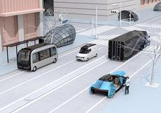 Scene of modern urban transportation style. People using smartphone to request a ride sharing. Autonomous bus in bus stop. Electric truck and minivan moving on stock illustration