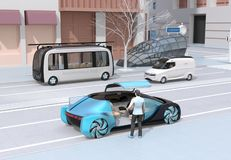 Scene of modern urban transportation style. People using smartphone to request a ride sharing, autonomous bus in bus stop. Electric minivan moving on the road stock illustration