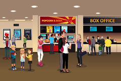 Scene in the movie theater lobby. A vector illustration of scene in the movie theater lobby Royalty Free Stock Images