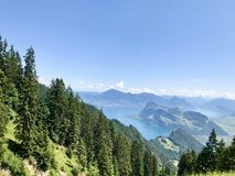 Scene of MT Pilatus. Pilatus, also often referred to Mount Pilatus, is a mountain massif overlooking Lucerne in Central Switzerland. It is composed of several stock photography
