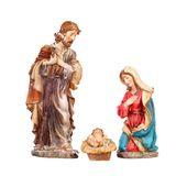 Scene of the nativity: Mary, Joseph and the Baby Jesus. Isolated on a white background Stock Images