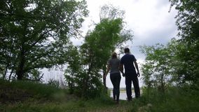 4K The scene of the natural park and the couple is coming behind the camera and walks holding hands stock video footage