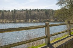 A scene of natural water. In a german forest in the tourist area Sauerland Stock Image