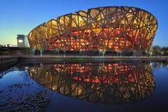 Scene nazionali di notte dello stadio di Pechino Cina Immagine Stock Libera da Diritti