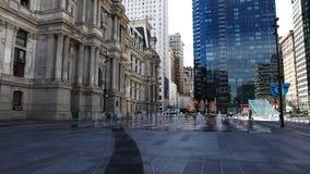 Scene near Philadelphia city hall stock video