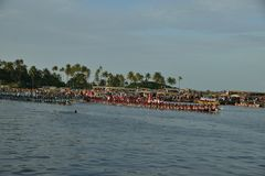 Nehru Trophy Boat Race 2017 in Kerala. A scene from Nehru Trophy Boat Race, a popular Vallam Kali held in the Punnamada backwater near Alappuzha, Kerala, India Royalty Free Stock Images