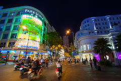 Scene of night life at Ho Chi Minh City (Saigon), Vietnam Stock Image