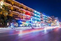Scene of night life in Phnom Penh, Cambodia Royalty Free Stock Photography
