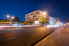 Scene of night life in Phnom Penh, Cambodia Royalty Free Stock Images