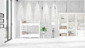 Scene with brand new interior in vogue with white rack and baby bed. 3D rendering. Horizontal arrangement. Scene of nursery with brand new interior in vogue Royalty Free Stock Photography