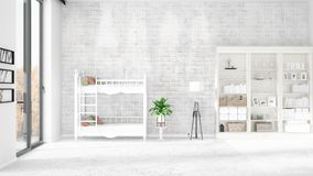 Scene with brand new interior in vogue with white rack and baby bed. 3D rendering. Horizontal arrangement. Scene of nursery with brand new interior in vogue Stock Photos