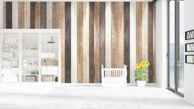 Scene with brand new interior in vogue with white rack and baby bed. 3D rendering. Horizontal arrangement. Scene of nursery with brand new interior in vogue Royalty Free Stock Image