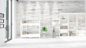Scene with brand new interior in vogue with white rack and baby bed. 3D rendering. Horizontal arrangement. Scene of nursery with brand new interior in vogue Stock Photography