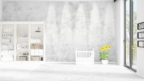 Scene with brand new interior in vogue with white rack and baby bed. 3D rendering. Horizontal arrangement. Scene of nursery with brand new interior in vogue Royalty Free Stock Photos