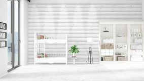 Scene with brand new interior in vogue with white rack and baby bed. 3D rendering. Horizontal arrangement. Scene of nursery with brand new interior in vogue Stock Photo