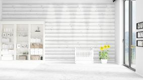 Scene with brand new interior in vogue with white rack and baby bed. 3D rendering. Horizontal arrangement. Scene of nursery with brand new interior in vogue Royalty Free Stock Photo