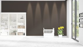 Scene with brand new interior in vogue with white rack and baby bed. 3D rendering. Horizontal arrangement. Scene of nursery with brand new interior in vogue Stock Images