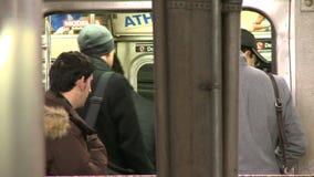 Scene of NYC Subway passengers stock footage