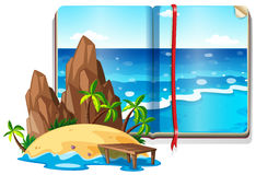 Scene with ocean and island. Illustration Stock Photography