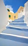 Scene from Oia village on Santorini island stock photo