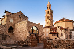 Scene from the old city of Split and the view of old bell tower Royalty Free Stock Photos
