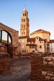 Scene from the old city of Split and the view of old bell tower Stock Image
