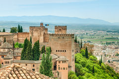 Scene of old fortress in Alhambra, Spain. Stock Images