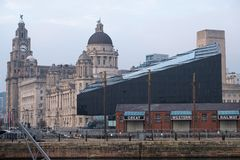 Scene at the old rail depot at Liverpool pier head stock images