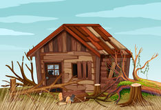 Scene with old wooden house in the field Royalty Free Stock Photography