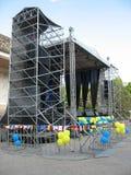 Scene open air concerto metallic stage Royalty Free Stock Photo