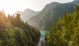 Scene over Diablo lake when sunrise in the early morning in North Cascade national park,Wa,Usa. Stock Photos