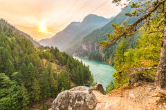 Scene over Diablo lake when sunrise in the early morning in North Cascade national park,Wa,Usa. Royalty Free Stock Images