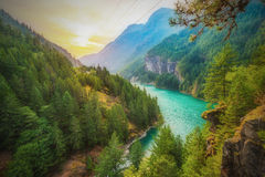 Scene over Diablo lake when sunrise in the early morning in North Cascade national park,Wa,Usa. Royalty Free Stock Photos