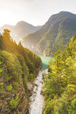 Scene over Diablo lake when sunrise in the early morning in North Cascade national park,Wa,Usa. Royalty Free Stock Image