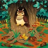 Scene with owl. Cartoon and vector illustration stock illustration