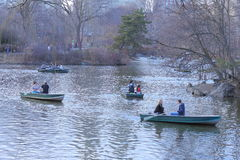 Scene of People Enjoying Boating in the Lake in Central Park,New York Royalty Free Stock Photos