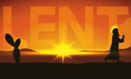 Scene of Pilgrimage of Christ across the Desert in Lent, Vector Illustration Royalty Free Stock Photo