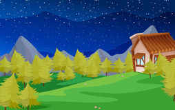 Scene with pine trees and house Royalty Free Stock Photos