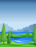 Scene with pine trees and river Royalty Free Stock Photo
