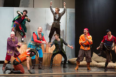 A scene with pirates at open rehearsal. MOSCOW - OCT 18: A scene with pirates at open rehearsal of the musical Treasure Island in the Concert Hall Izmailovo on Stock Photography