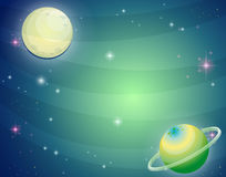 Scene with planet and moon Royalty Free Stock Image