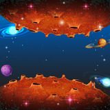 Scene with planets in galaxy Royalty Free Stock Image