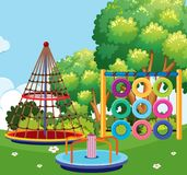 Scene of playground with many stations. Illustration Royalty Free Stock Photos