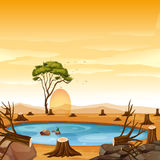 Scene with pond and stump trees. Illustration Stock Photography