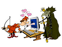 Scene with prince and a monster. Metaphor of online dating Royalty Free Stock Images